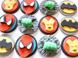 Super Hero Fondant Cupcake Toppers Batman Spiderman Etsy