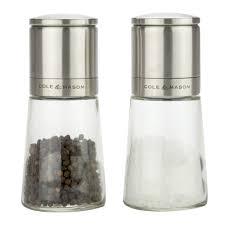 cole  mason  clifton glass salt  pepper mill set  peter's of
