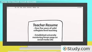 Tailoring the Content of Your Resume for a Job - Video & Lesson Transcript  | Study.com