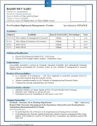 Resume Format Samples For Freshers Basic Resume Template For