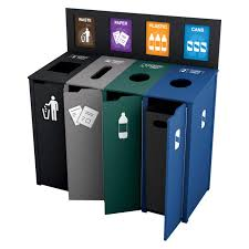 high recycled content custom recycling station for both outdoor and indoor
