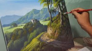 acrylic landscape painting lesson mountain road by jmlisondra you