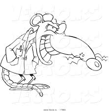 Small Picture Vector of a Cartoon Grinning Lab Rat Outlined Coloring Page by