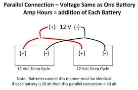 24 volt battery battery connections you can accomplish this by parallel connecting two or more 12 volt batteries this application is also commonly seen in rvs following is a diagram of how