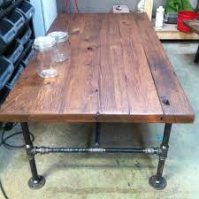 wood table with metal pipe legs coffee table iron pipe legs coffee table designs