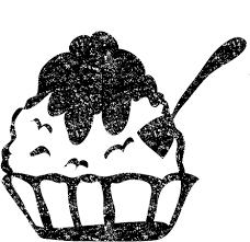 かき氷イラスト白黒無料素材