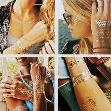 флеш тату Shimmer Jewelry Tattoos временные татуировки золото серебро 70 шт