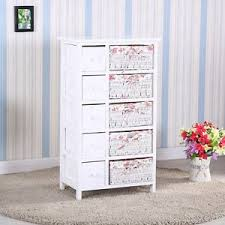 Image Is Loading Bedroom Storage Dresser 5 Drawers With Wicker Baskets