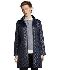 Cole Haan Leather Jacket Diamond Quilted for Women | Clothing Style & Cole Haan women's navy leather trimmed diamond quilted insulated zip front  jacket Adamdwight.com