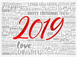 2019 Happy New Year Christmas Background Word Cloud Holidays