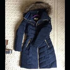 michael kors long down coat faux fur belted jacket navy trench with detachable hood liner