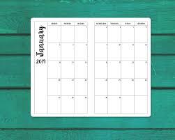 Monthly Calendar Notebook A5 2019 Monthly Calendar Tn Insert Travelers Notebook Insert Sunday Or Monday Printable