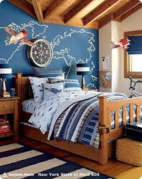 Pottery Barn Kidu0027s Airplane Themed Bedroom A Few Years Ago. I Love The Wall  Behind The Bed. Iu0027d Love To Do One With A Map Of Michigan On It Showing All  The ...