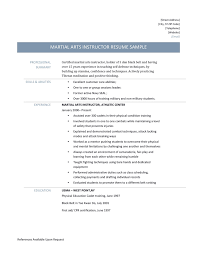 Martial Arts Instructor Resume Template And Job Description
