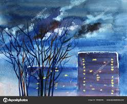 night street view cityscape in twilight with houses and trees hand drawn watercolor