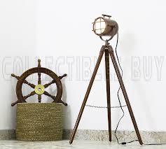 antique brass wooden tripod lamp spot focus searchlight
