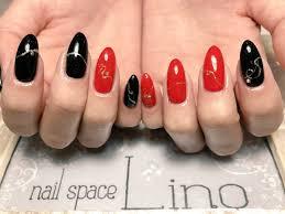 Nail Space Lino On Twitter 赤と黒のアシンメトリーネイル デザイン