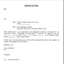 Sale Offer Letter Employment Verification Letter Template Word