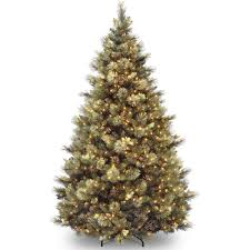 National Tree Pre-Lit 7-1/2' Carolina Pine Hinged Artificial Christmas Tree  with 86 Flocked Cones and 750 Clear Lights