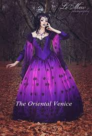 ombre gothic fairy fantasy wedding gowns purple and black lace