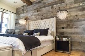 reclaimed wood planked bedroom wall