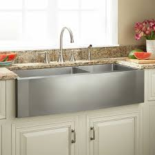double bowl stainless steel farmhouse sink combined white kitchen cabinet door and brown granite counter top