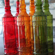 colored glass apothecary bottles tall cork vases red green orange carnival glass free us
