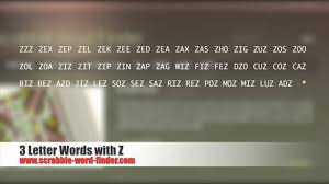 3 letter words with z you