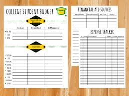 how to budget as a college student college budget template free printable for students college