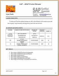 sap resume for freshers resume ideas