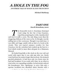 A Hole In The Fog By Michael Matheny By Cantarabooks