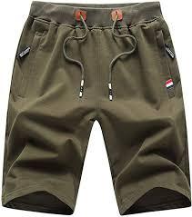 JustSun <b>Mens Sports</b> Shorts <b>Casual</b> with Elastic Waist Zipper ...