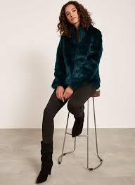 bottle green faux fur coat