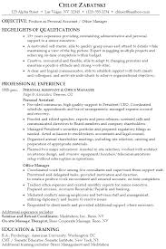 Sample Resume Personal Assistant Office Manager