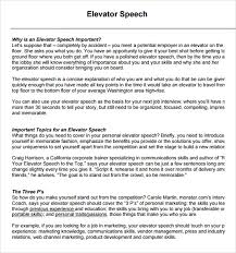 Speech Example Extraordinary 48 Elevator Speech Samples Sample Templates