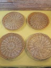 vintage rattan wicker woven paper plate