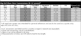 Children S Conversion Size Chart 17 Valid Kid Size Conversion Chart