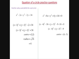 circle equations practice questions