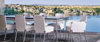 high end outdoor furniture astonishing design chromed metal framework rectangle dining table white fabric seat cover