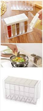 6 sections plastic seasoning box is a perfect kitchen condiment storage  helper