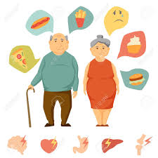 Old Man And Women Obesity Infographics Unhealthy Food And Human