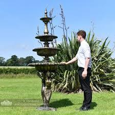 4 tier mermaid garden fountain black