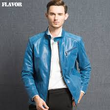 2016 mens real leather jacket pigskin genuine leather jacket men leather coat ocean blue