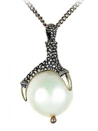 alilang golden tone antique animal claw grasping faux pearl pendant necklace