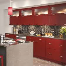 under cabinet lighting in a red kitchen
