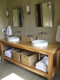 Wood Vanity Bathroom Simple Round Sinks And Wicker Baskets On Minimalist Wooden