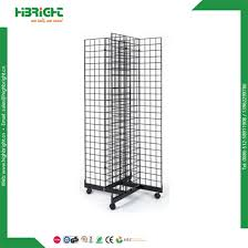 h shape wire grid wall display rack with baskets hooks