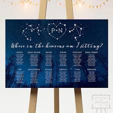 Galaxy Seating Chart Starry Night Wedding Seating Chart For A Star Or Galaxy