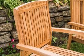 solid teak stacking garden chair