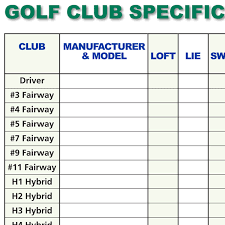 Golf Club Specification Fill In Chart Ralph Maltby
